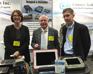 From left: Michele Kasza, Vice President of Sales, ConnectTech; Nissen Isakov, President, LCR Embedded Systems; John Long, VP Integrated Systems, LCR Embedded Systems