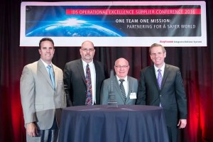 From left: John Bergeron, Vice President of Mission Assurance, Raytheon; David Freeman, Eastern Regional Sales Manager, LCR Embedded Systems; Nissen Isakov, President, LCR Embedded Systems; Michael Shaughnessy, Vice President of Integrated Supply Chain, Raytheon
